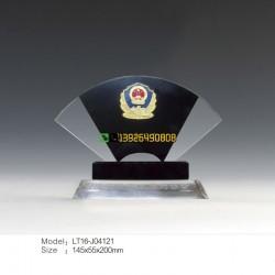 见义勇为奖 扇形水晶奖牌 政 府机 关表彰奖杯定做 厂家直销